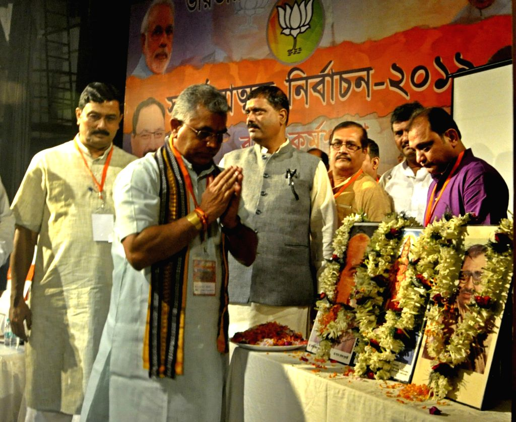 West Bengal BJP President Dilip Ghosh and party leader Rahul Sinha during a party programme in Kolkata on Aug 27, 2018. - Dilip Ghosh and Rahul Sinha