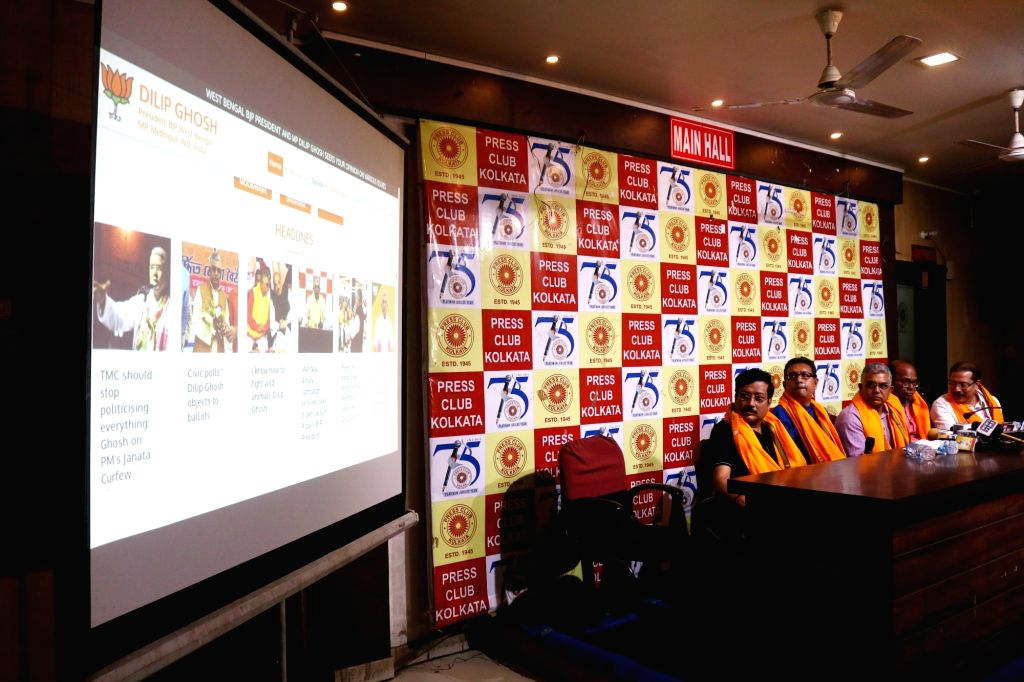 West Bengal BJP President Dilip Ghosh at the inauguration of his website, in Kolkata on March 21, 2020. - Dilip Ghosh