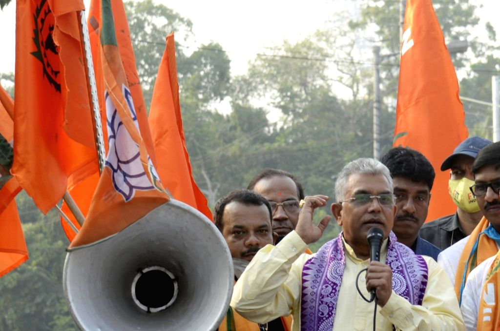 West Bengal BJP President Dilip Ghosh during a protest rally organised by National Front of Indian Trade Unions (NFITU) against the State Government, in Kolkata on Dec 2, 2020. - Dilip Ghosh