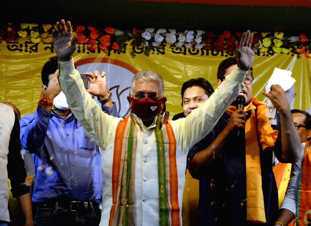 "West Bengal BJP President Dilip Ghosh during ""Ar Noy Annay"" rally organised to protest against the State Government, in Kolkata on Dec 3, 2020. - Dilip Ghosh"