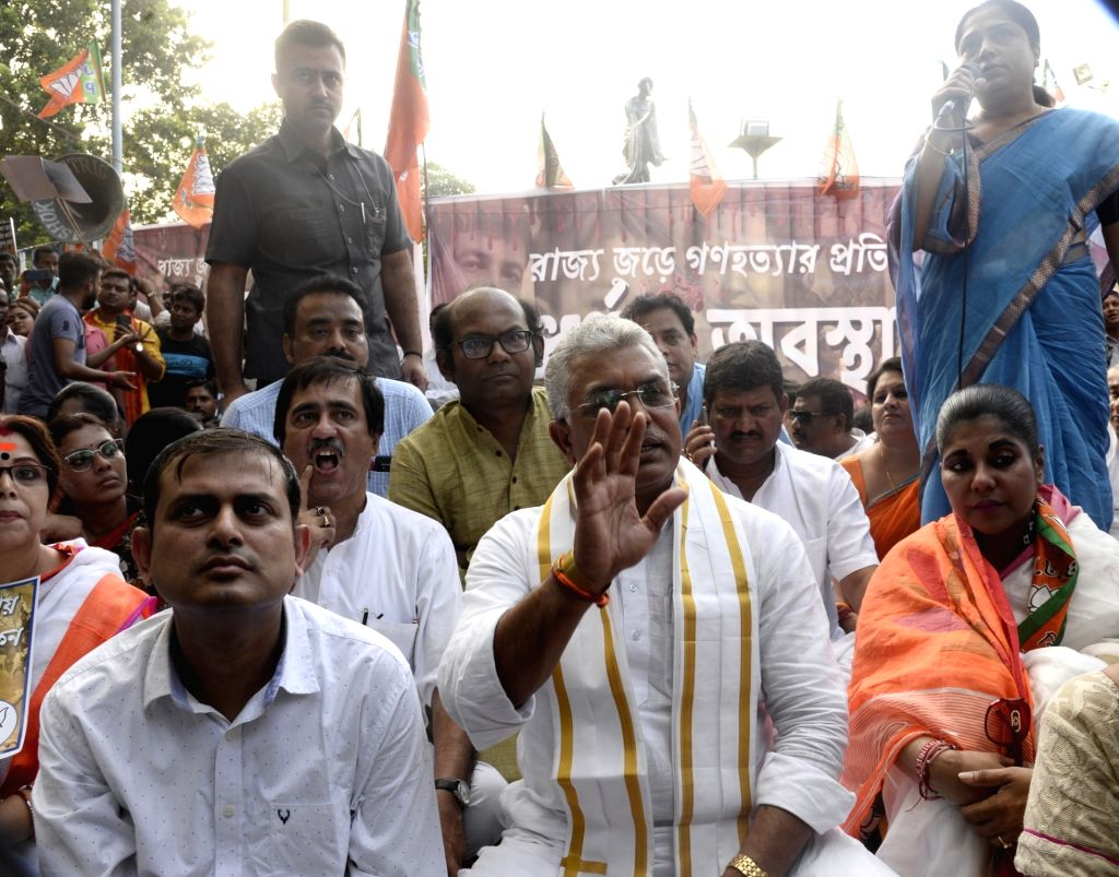 West Bengal BJP President Dilip Ghosh leads a demonstration against the killing of three members of a family in Murshidabad district's Jiaganj; in Kolkata on Oct 12, 2019. - Dilip Ghosh
