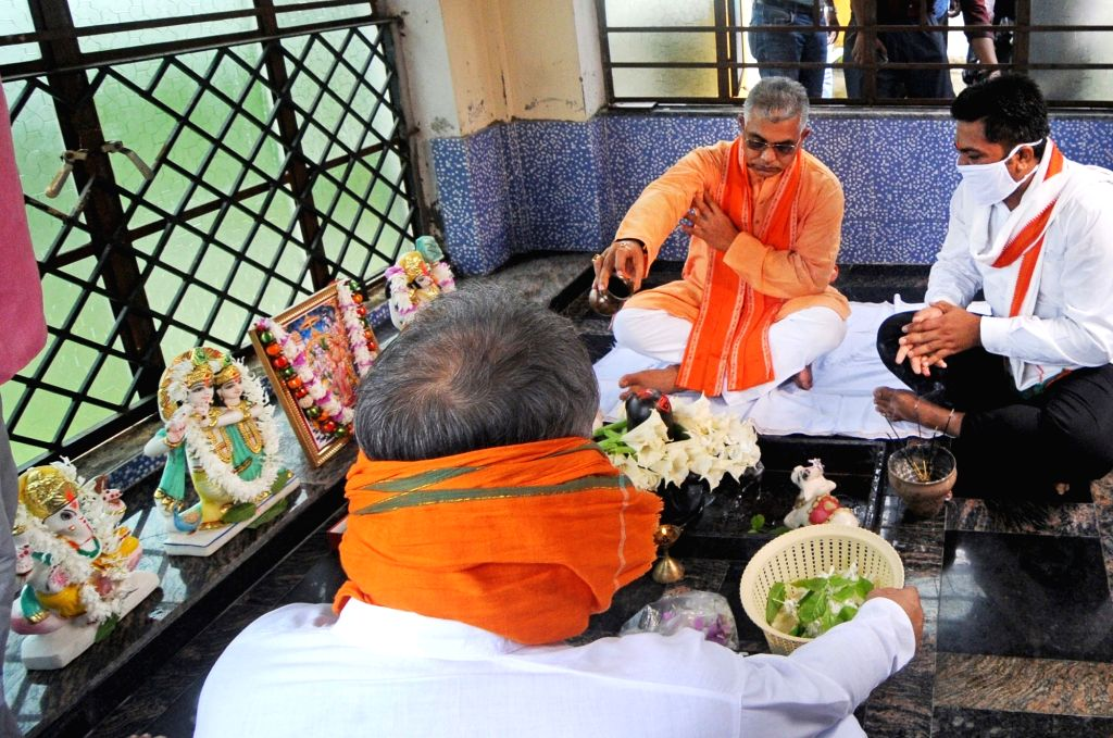 West Bengal BJP President Dilip Ghosh offers prayers to Lord Ram and Lord Shiva on the occasion of Ram Temple 'Bhumi Pujan in Ayodhya; in Kolkata on Aug 5, 2020. - Dilip Ghosh