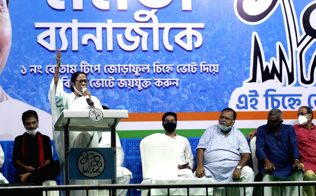 West Bengal Chief Minister and TMC candidate of Bhawanipur constituency by-poll Mamata Banerjee during election campaign in Kolkata on Sunday, September 26, 2021. - Mamata Banerjee