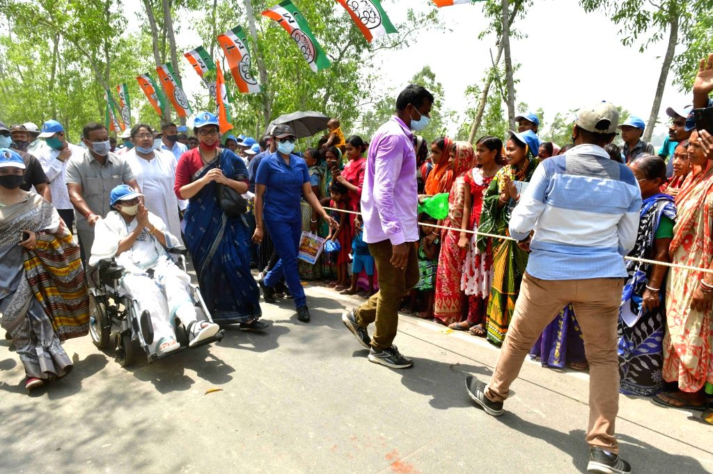 West Bengal Chief Minister and TMC supremo Mamata Banerjee during election campaign at Nandigram in West Bengal on March 30, 2021. - Mamata Banerjee