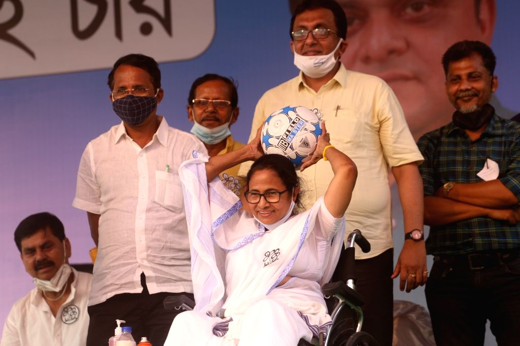 West Bengal Chief Minister and TMC supremo Mamata Banerjee at a public meeting for election campaign during State Assembly election at Dumdum near Kolkata. - Mamata Banerjee
