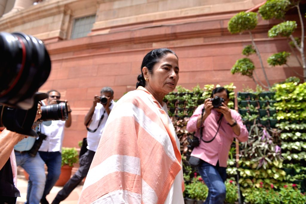 West Bengal Chief Minister and TMC supremo Mamata Banerjee arrives at Parliament, in New Delhi on Aug 1, 2018. - Mamata Banerjee