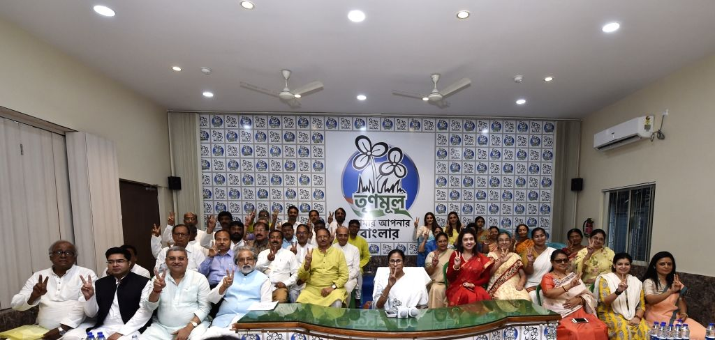West Bengal Chief Minister and TMC supremo Mamata Banerjee with the party's Lok Sabha election candidates during a press conference in Kolkata, on March 13, 2019. - Mamata Banerjee