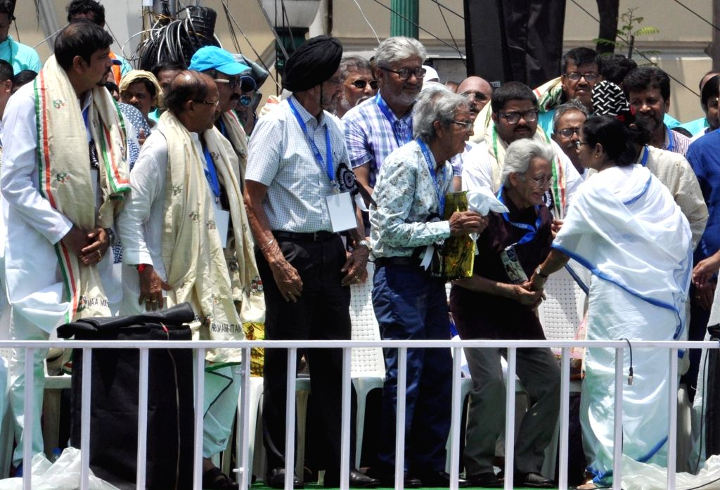West Bengal Chief Minister and TMC Supremo Mamata Banerjee during party's annual Martyrs' Day rally in Kolkata on July 21, 2019. - Mamata Banerjee