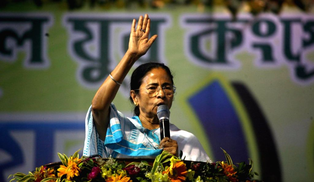 West Bengal Chief Minister and Trinamool Congress supremo Mamata Banerjee addresses during a party programme at Dumurjala in Howrah of West Bengal on Feb 2, 2018. - Mamata Banerjee