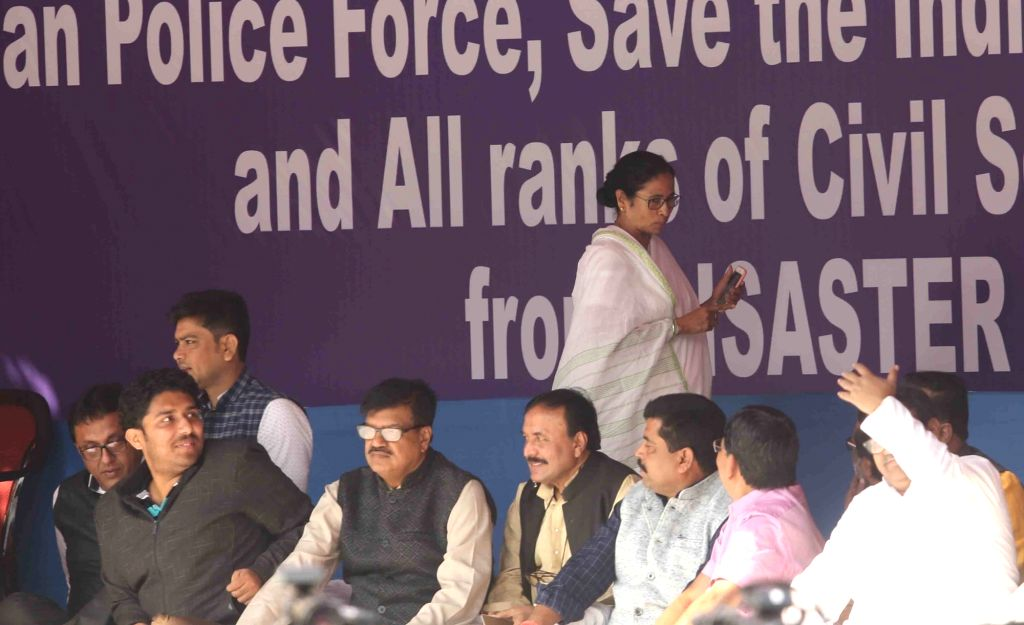 West Bengal Chief Minister and Trinamool Congress (TMC) supremo Mamata Banerjee during a sit-in (dharna) demonstration over the CBI's attempt to question Kolkata Police Commissioner Rajeev ... - Mamata Banerjee