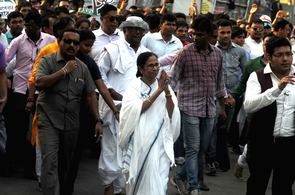 West Bengal Chief Minister and Trinamool Congress (TMC) supremo Mamata Banerjee during an election campaign for the forthcoming Lok Sabha polls in Kolkata, on May 10, 2019. - Mamata Banerjee