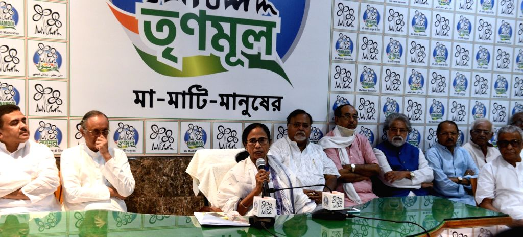 West Bengal Chief Minister and Trinamool Congress (TMC) supremo Mamata Banerjee with others party leaders during party's core community meeting at her residence in Kolkata, on May 31, 2019. - Mamata Banerjee