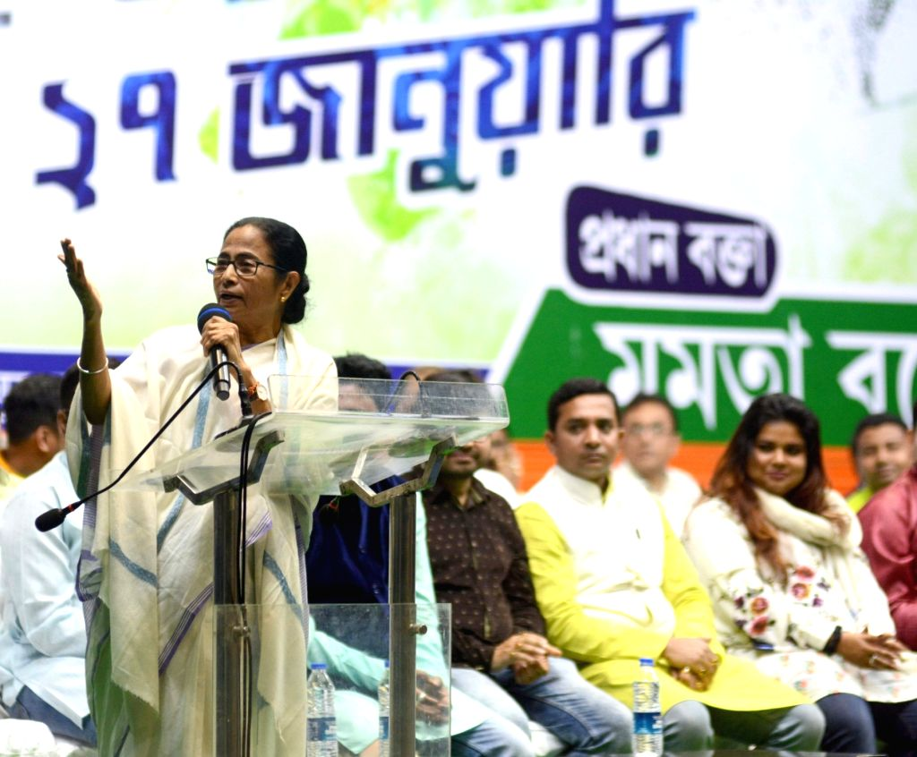 West Bengal Chief Minister and Trinamool Congress (TMC) supremo Mamata Banerjee addresses during a workshop organised for students and youth, in Kolkata on Jan 27, 2020. - Mamata Banerjee