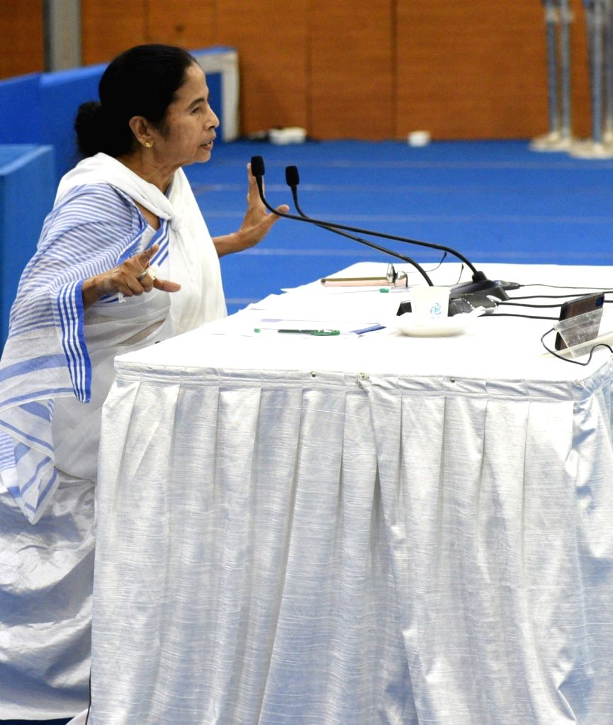 West Bengal Chief Minister Mamata Banerjee presides over a meeting with District Magistrates to review the situation in the state during the 21-day nationwide lockdown imposed to contain the ... - Mamata Banerjee