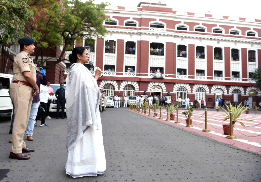 West Bengal Chief Minister Mamata Banerjee addresses during her visit to Kolkata police headquarters at Lalbazar to review the preparedness to tackle the situation during COVID-19 pandemic, ... - Mamata Banerjee