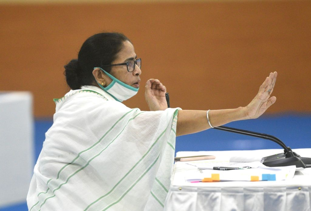 West Bengal Chief Minister Mamata Banerjee addresses during All Party meeting at Nabanna in Howrah on June 24, 2020. - Mamata Banerjee