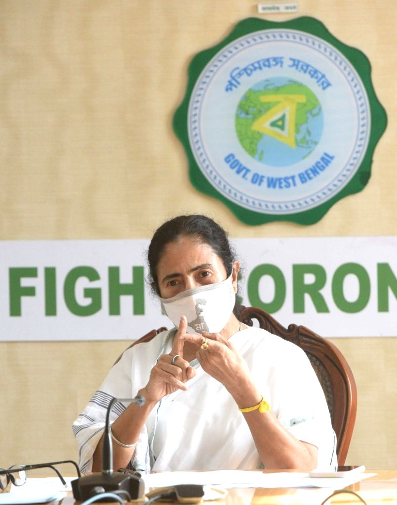 West Bengal Chief Minister Mamata Banerjee addresses a press conference at Nabanna in Howrah on June 26, 2020. - Mamata Banerjee