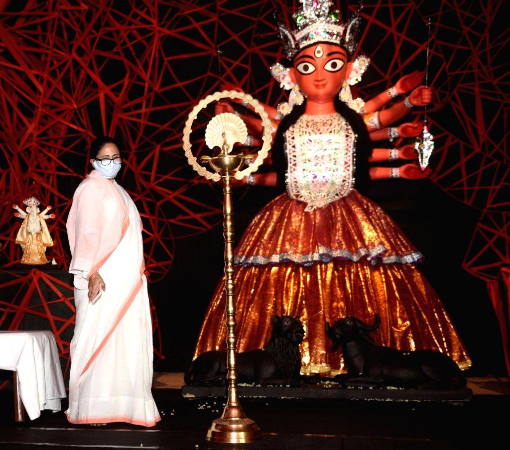 West Bengal Chief Minister Mamata Banerjee inaugurates the community Durga Puja in Kolkata on Oct 15, 2020. - Mamata Banerjee