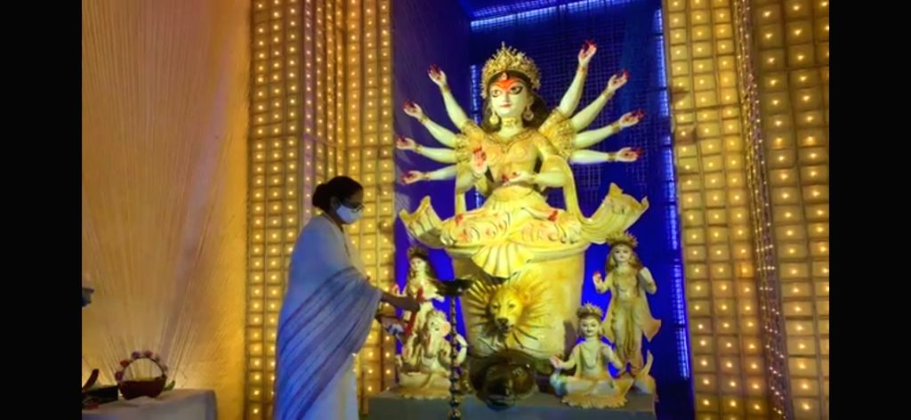 West Bengal Chief Minister Mamata Banerjee inagurated Community Puja pandal on the eve of Durga puja festival in Kolkata on October 18, 2020. - Mamata Banerjee