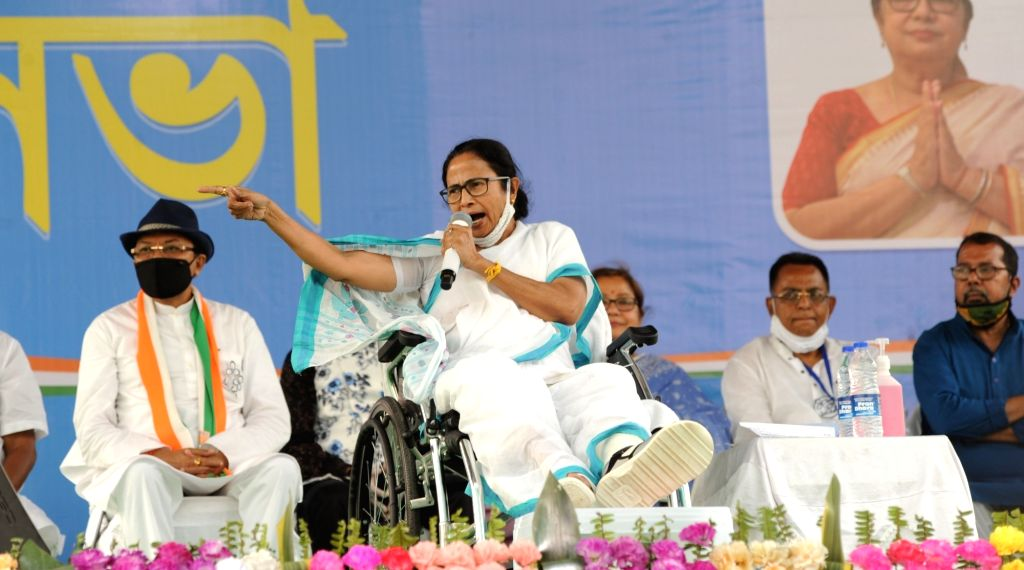 West Bengal Chief Minister Mamata Banerjee addressing at a public meeting at Dumurjala during Election campaign ahead of State Assembly Election in Howrah on Saturday March 27, 2021. - Mamata Banerjee