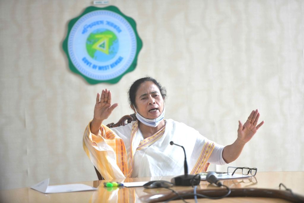 """West Bengal Chief Minister Mamata Banerjee meeting with Government officials on cyclone """"Yash"""" at Nabanna in Howrah on May 26, 2021. - Mamata Banerjee"""