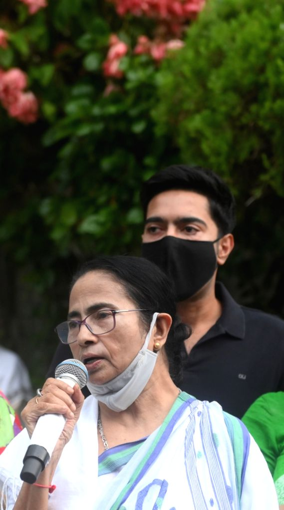 West Bengal Chief Minister Mamata Banerjee addresses to media and supporters  after her winning bhawanipur by election in Kolkata on Sunday october 03, 2021. - Mamata Banerjee