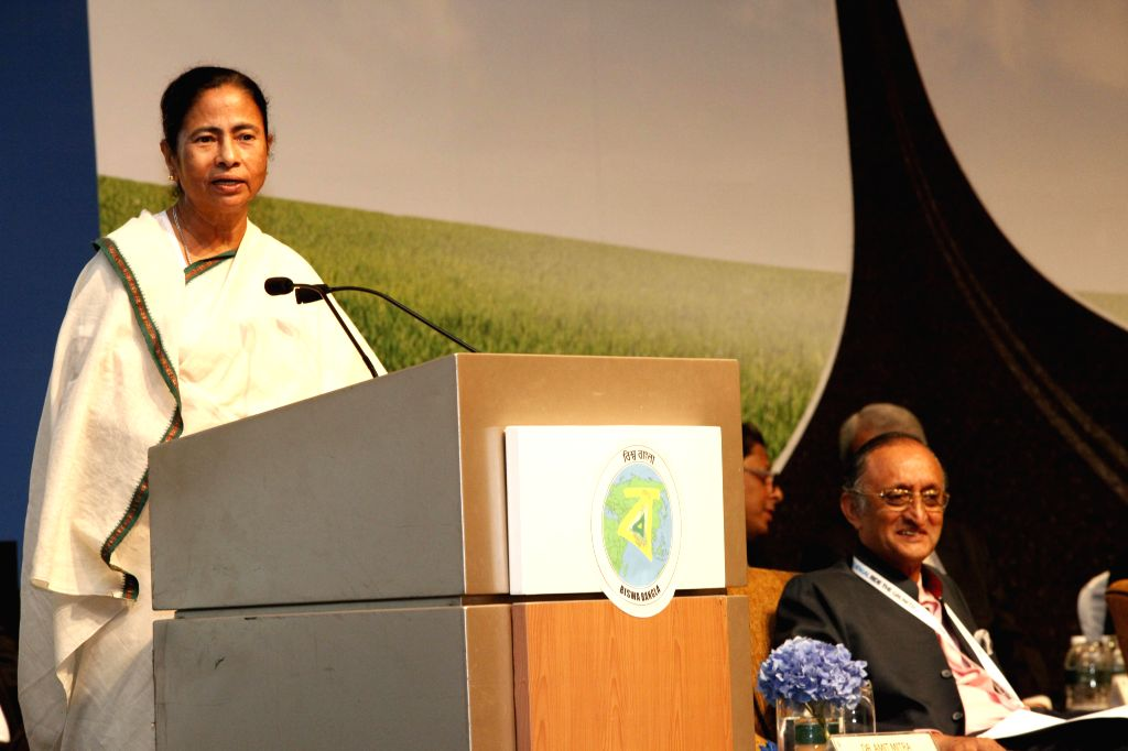 West Bengal Chief Minister Mamata Banerjee addresses during a meeting with businessmen in Singapore on Aug 20, 2014. Also seen West Bengal Finance Minister Amit Mitra.
