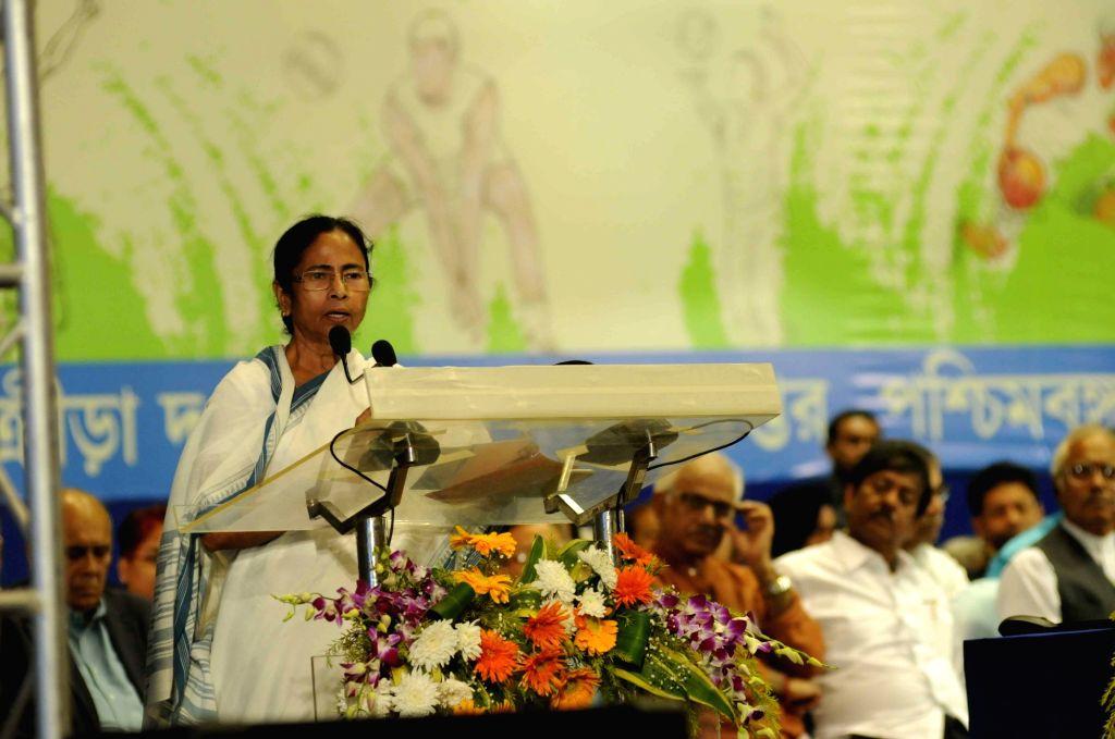 West Bengal Chief Minister Mamata Banerjee addresses during Khel Samaman awards organised by West Bengal Sports Department in Kolkata, on Dec 1, 2015. - Mamata Banerjee