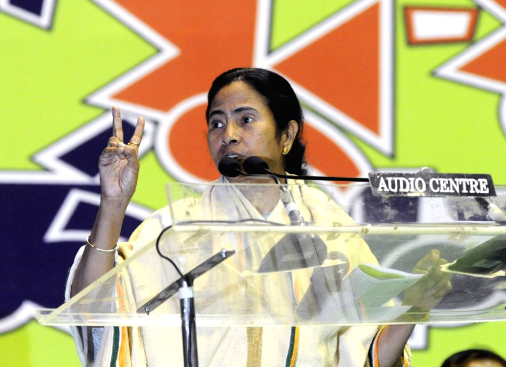 West Bengal Chief Minister Mamata Banerjee addresses party workers during workshop of Trinamul Congress in Kolkata on Feb. 4. - Mamata Banerjee