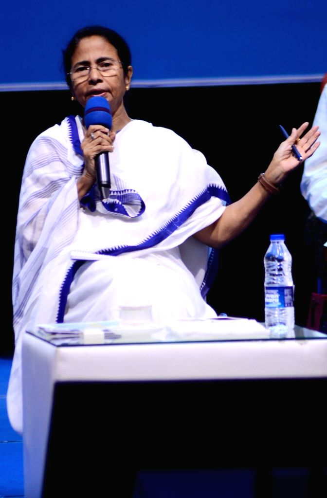 West Bengal Chief Minister Mamata Banerjee addresses during a meeting in Howrah on May 12, 2017. - Mamata Banerjee
