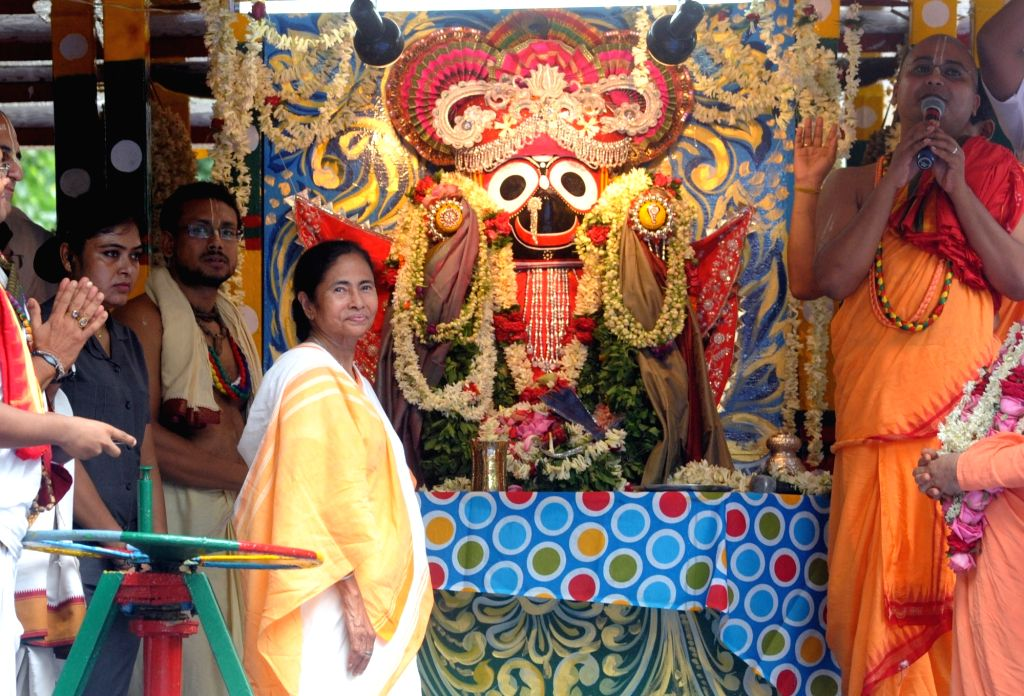 West Bengal Chief Minister Mamata Banerjee participates in Ulta Rath Yatra organised by International Society for Krishna Consciousness (ISKCON) in Kolkata, on July 3, 2017. - Mamata Banerjee