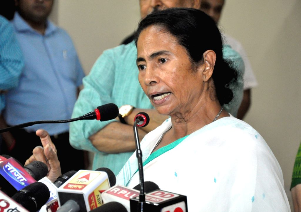 West Bengal Chief Minister Mamata Banerjee addresses a press conference at Nabanna in Howrah, on July 5, 2017. - Mamata Banerjee