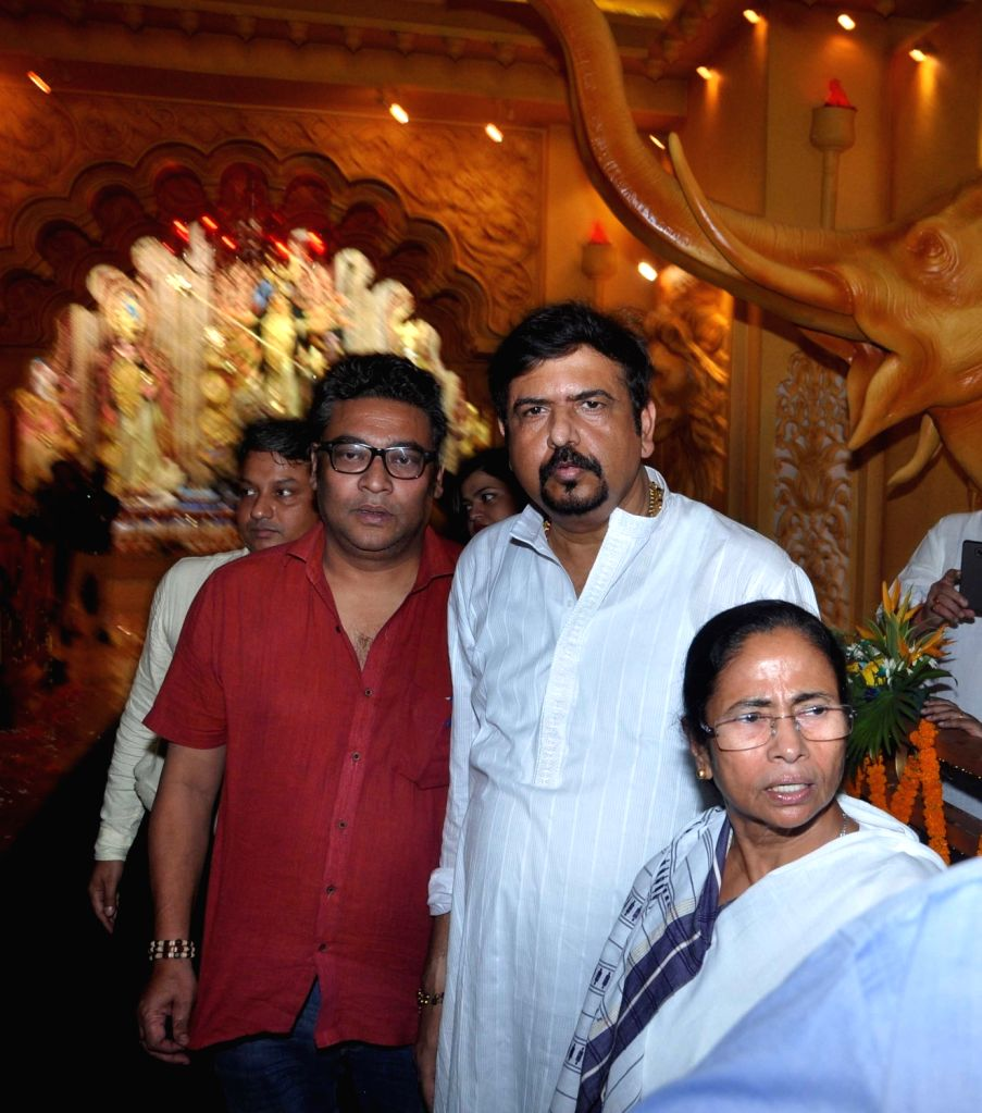 West Bengal Chief Minister Mamata Banerjee inaugurates a Durga Puja Pandal in Kolkata on Sept 18, 2017. - Mamata Banerjee