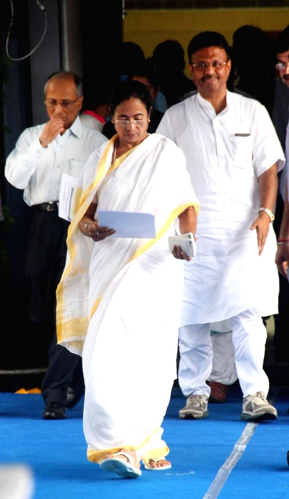West Bengal Chief Minister Mamata Banerjee arrives for a press conference, in Kolkata, on July 5, 2018. - Mamata Banerjee