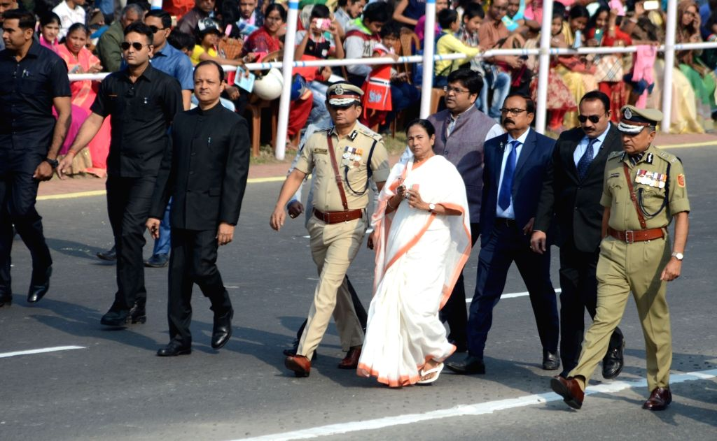 West Bengal Chief Minister Mamata Banerjee arrives to witness the 2019 Republic Day Parade at Red Road in Kolkata, on Jan 26, 2019. - Mamata Banerjee