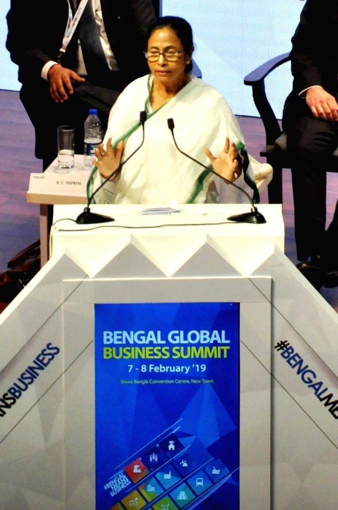 West Bengal Chief Minister Mamata Banerjee addresses during Bengal Global Business Summit (BGBS) 2019 in Kolkata, on Feb 7, 2019. - Mamata Banerjee