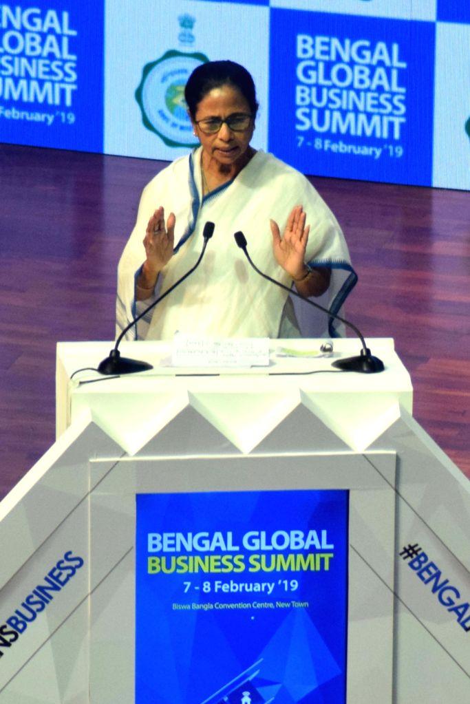 West Bengal Chief Minister Mamata Banerjee addresses during Bengal Global Business Summit (BGBS) 2019 in Kolkata, on Feb 8, 2019. - Mamata Banerjee