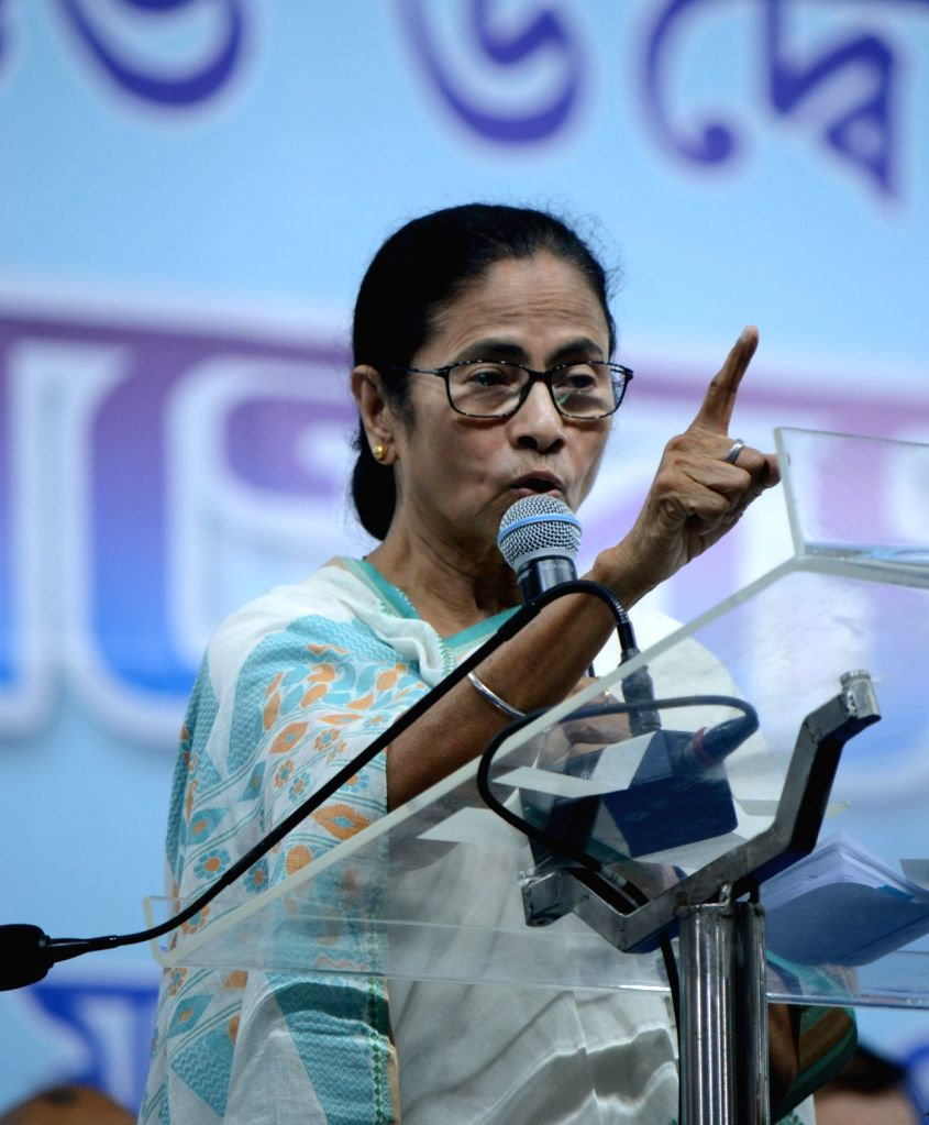 West Bengal Chief Minister Mamata Banerjee addresses after laying the foundation stone of the Hindi University in Howrah, on March 6, 2019. - Mamata Banerjee