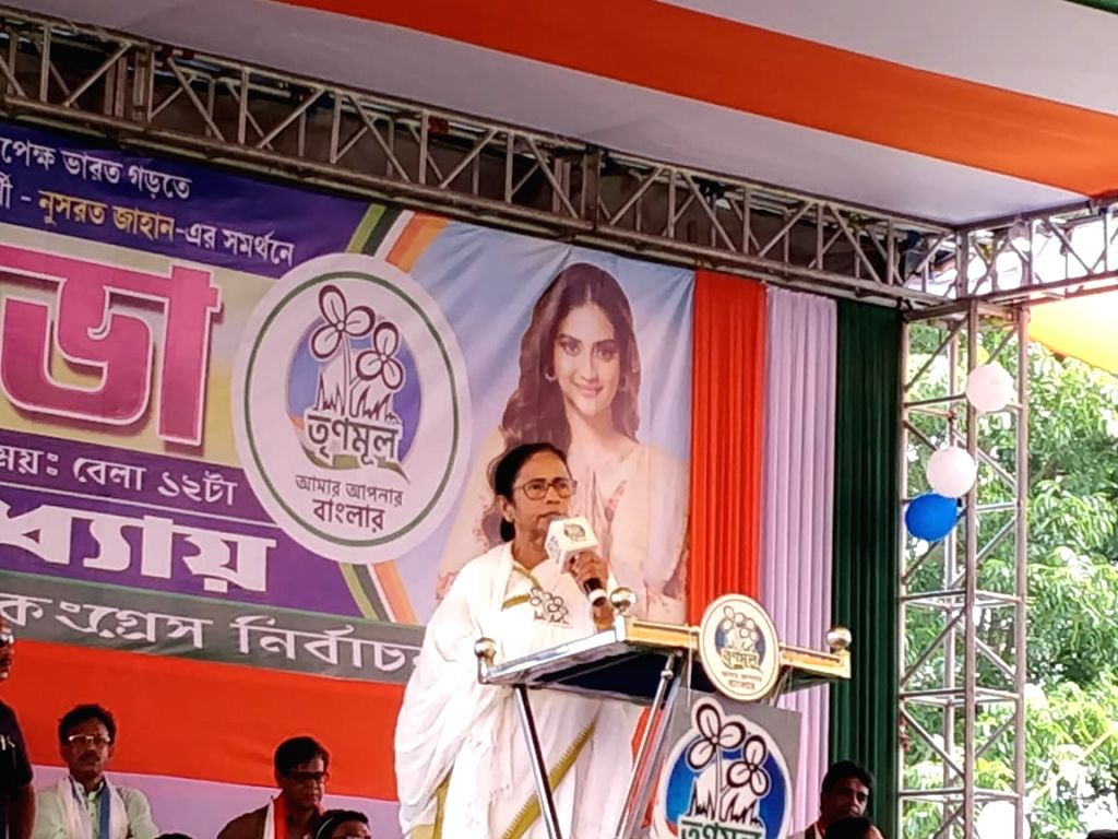 West Bengal Chief Minister Mamata Banerjee addresses during a Trinamool Congress rally in Harora, West Bengal on May 11, 2019. - Mamata Banerjee