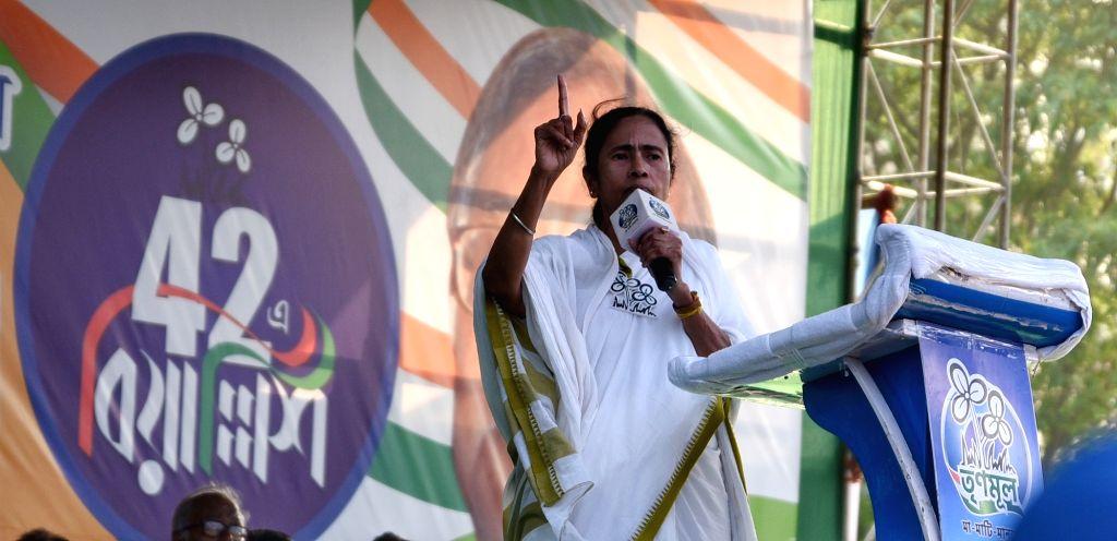 West Bengal Chief Minister Mamata Banerjee addresses at a Trinamool Congress rally in Kolkata, on May 11, 2019. - Mamata Banerjee
