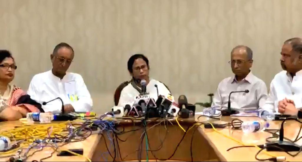 West Bengal Chief Minister Mamata Banerjee addresses a press conference at Nabanna, Howrah on June 15, 2019. - Mamata Banerjee