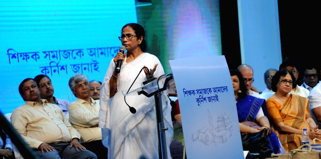 West Bengal Chief Minister Mamata Banerjee addresses at Shiksha Ratna Awards 2019, in Kolkata on Sep 5, 2019. - Mamata Banerjee