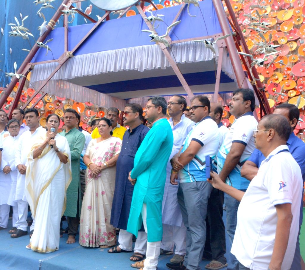 West Bengal Chief Minister Mamata Banerjee inaugurates Barisha Club's Durga Puja pandal in Kolkata, on Sep 29, 2019. - Mamata Banerjee