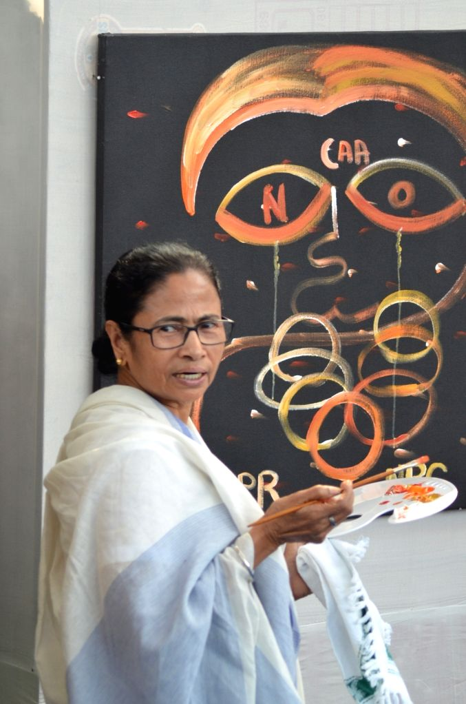West Bengal Chief Minister Mamata Banerjee participates in a painting programme organised as part of a protest against the Citizenship Amendment Act (CAA) 2019, National Register of Citizens ... - Mamata Banerjee