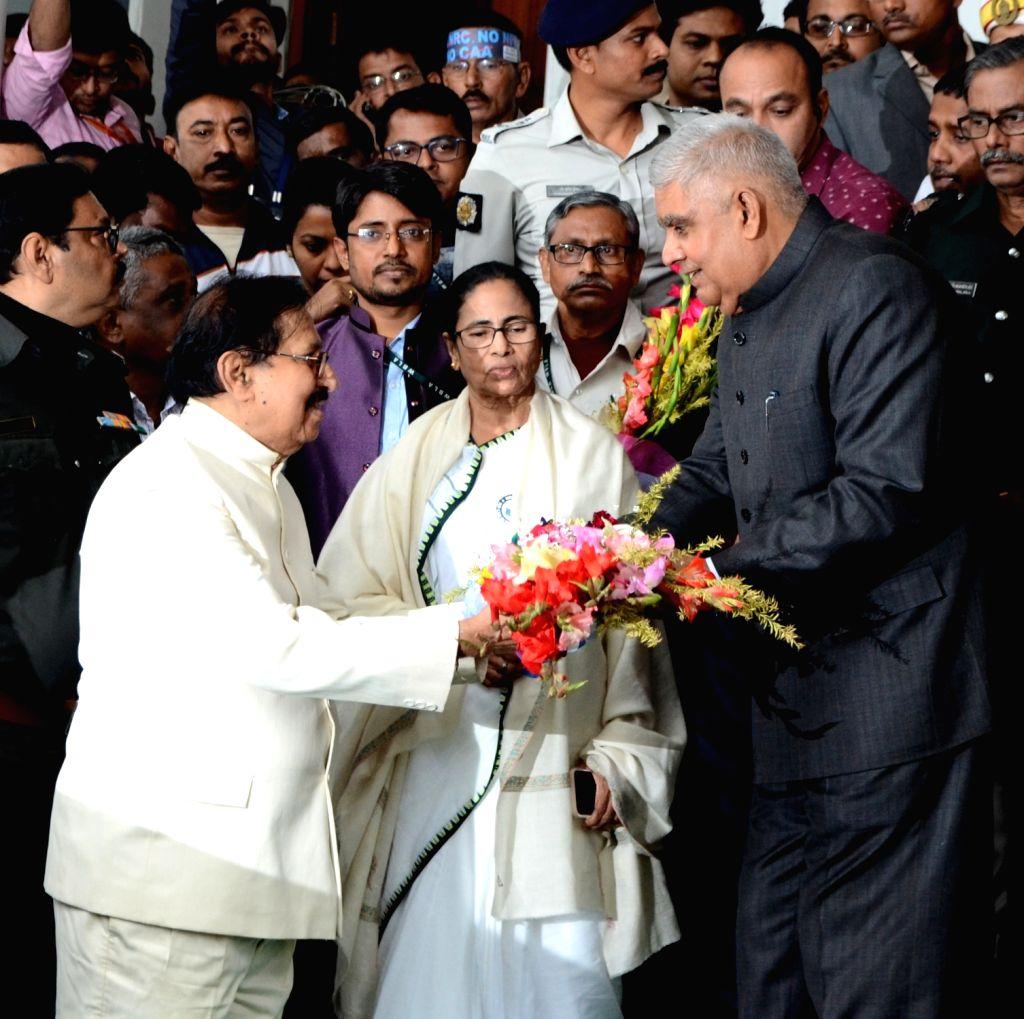 West Bengal Chief Minister Mamata Banerjee, Governor Jagdeep Dhankar, Speaker, Biman Bandyopadhyay on the first day of budget session at West Bengal Assembly in Kolkata on Feb 7, 2020. - Mamata Banerjee