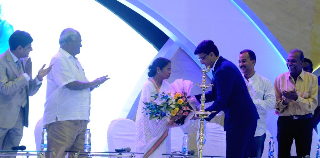 West Bengal Chief minister Mamata Banerjee along with Cricket Association of Bengal (CAB) President Sourav Ganguly during CAB Annual Awards Ceremony 2016-17 in Kolkata on Aug 8, 2017. - Mamata Banerjee and Sourav Ganguly