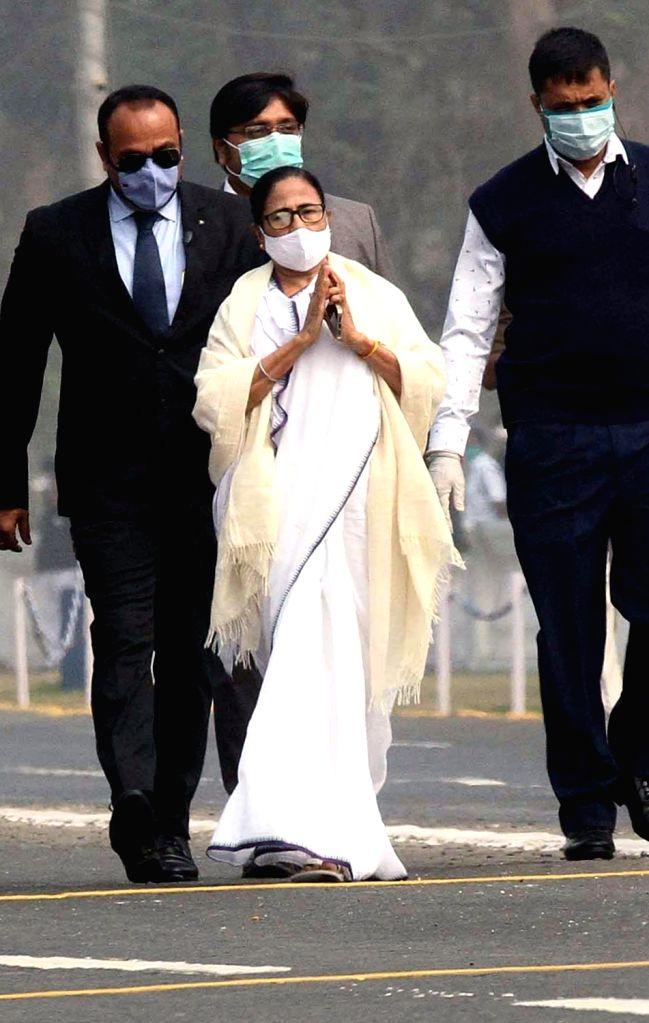 West Bengal Chief Minister Mamata Banerjee and Governor Jagdeep Dhankar during 72nd Republic Day parade at Red Road in Kolkata on Jan 26, 2021 - Mamata Banerjee