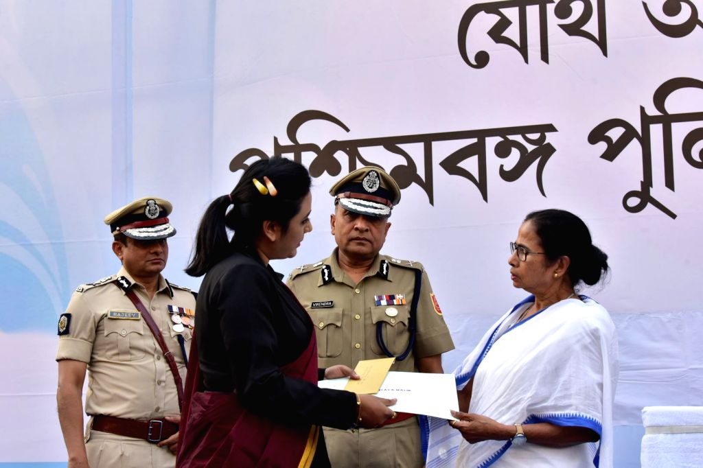 West Bengal Chief Minister Mamata Banerjee and Kolkata Police Commissioner Rajeev Kumar during the Joint Investiture ceremony of West Bengal Police and Kolkata Police, on Feb 4, 2019. - Mamata Banerjee