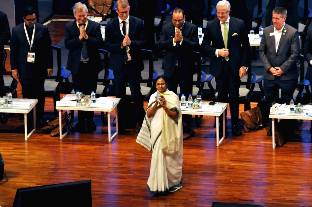 West Bengal Chief Minister Mamata Banerjee and other dignitaries at Bengal Global Business Summit (BGBS) 2019 in Kolkata, on Feb 7, 2019. - Mamata Banerjee