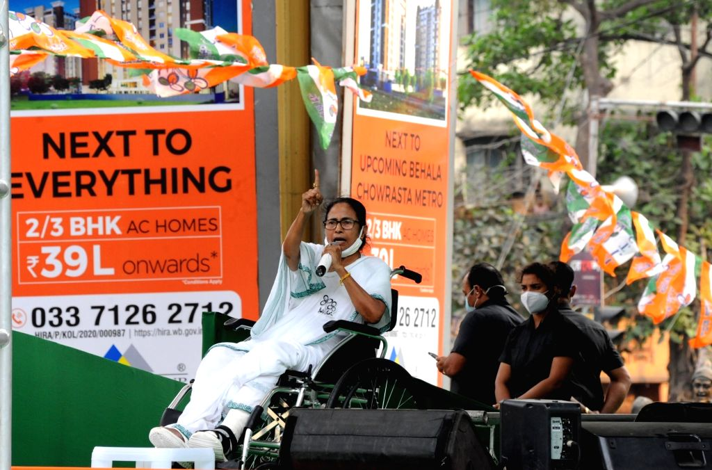 West Bengal Chief Minister Mamata Banerjee at a public meeting ahead of the 4th phase of the State Assembly election at Behala in Kolkata on April 8, 2021. Pix IANS. - Mamata Banerjee